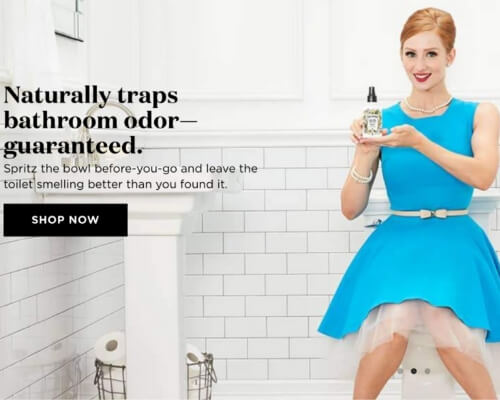 Poo-Pourri mascot in blue dress holding product on toilet