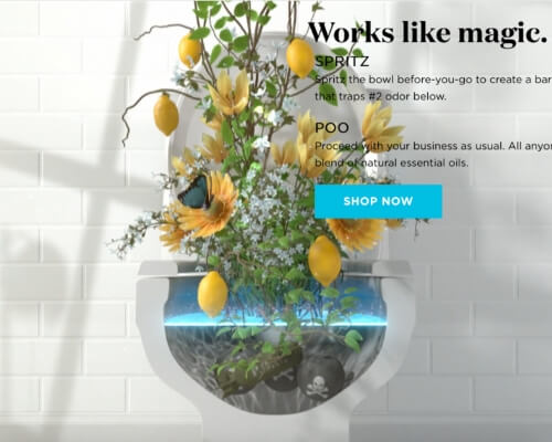 Poo-Pourri website screenshot from video outlining how product works