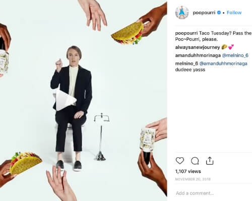 Poop-Pourri Instagram screenshot from Taco Tuesday boomerang